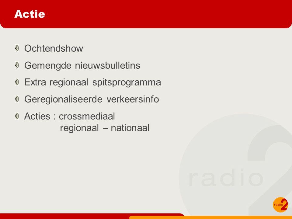 Actie Ochtendshow Gemengde nieuwsbulletins Extra regionaal spitsprogramma Geregionaliseerde verkeersinfo Acties : crossmediaal regionaal – nationaal