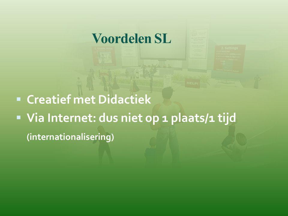 Voordelen SL  Creatief met Didactiek  Via Internet: dus niet op 1 plaats/1 tijd (internationalisering)