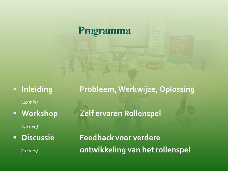 Programma  InleidingProbleem, Werkwijze, Oplossing (10 min)  Workshop Zelf ervaren Rollenspel (40 min)  Discussie Feedback voor verdere (10 min) on