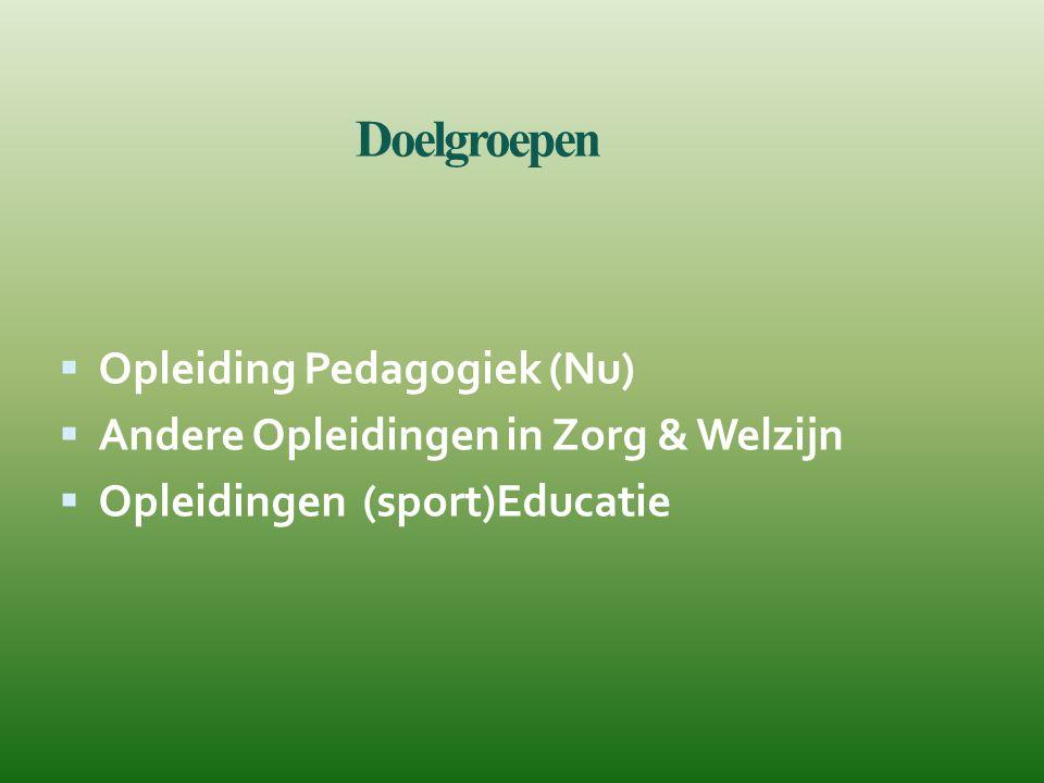 Doelgroepen  Opleiding Pedagogiek (Nu)  Andere Opleidingen in Zorg & Welzijn  Opleidingen (sport)Educatie