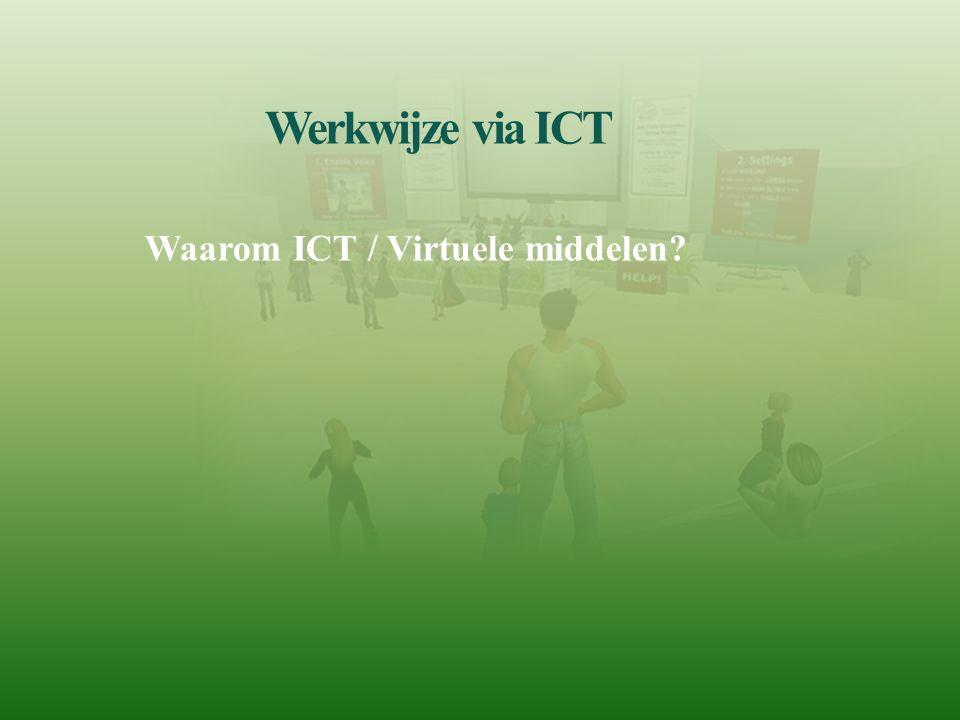 Werkwijze via ICT Waarom ICT / Virtuele middelen?