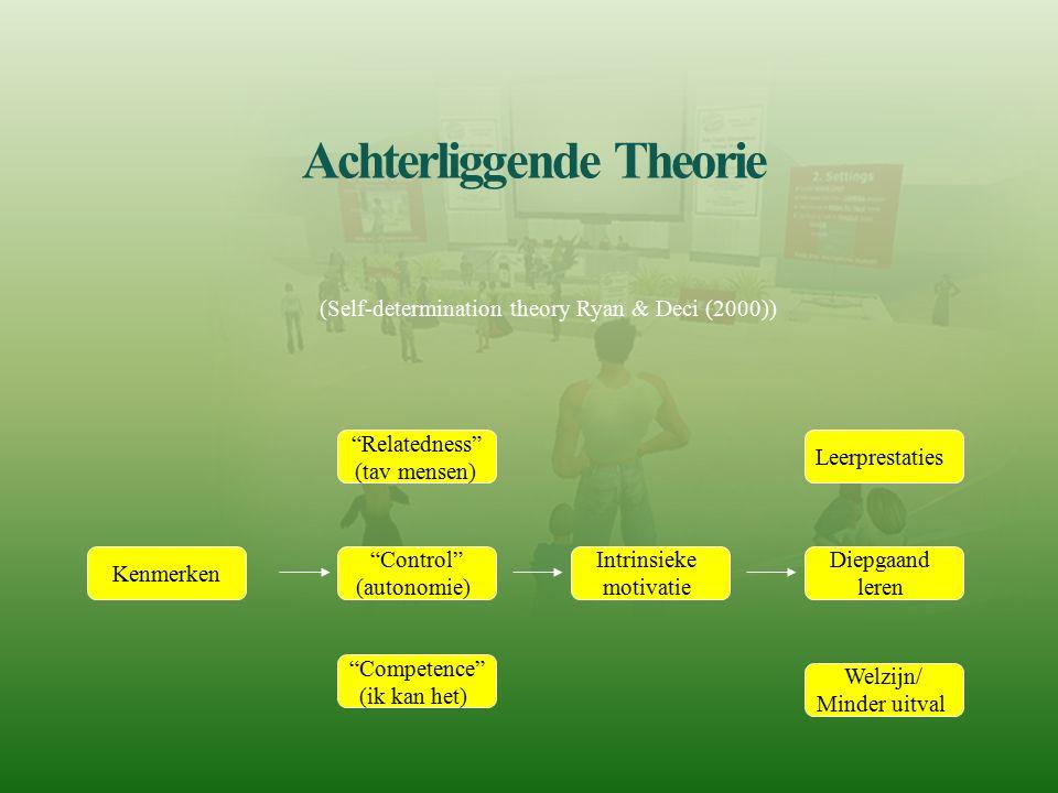 """Achterliggende Theorie """"Relatedness"""" (tav mensen) """"Control"""" (autonomie) """"Competence"""" (ik kan het) Intrinsieke motivatie Leerprestaties Diepgaand leren"""