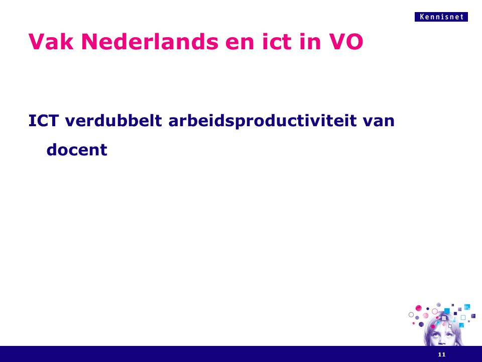 Vak Nederlands en ict in VO ICT verdubbelt arbeidsproductiviteit van docent 11
