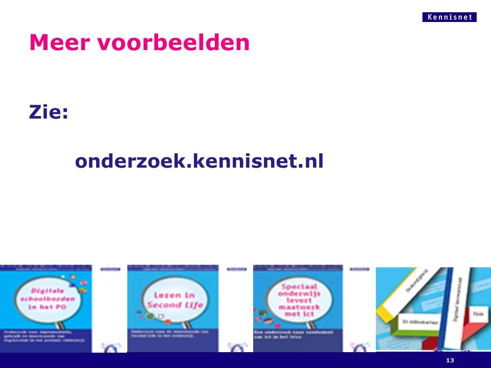 Meer voorbeelden Zie: onderzoek.kennisnet.nl 13