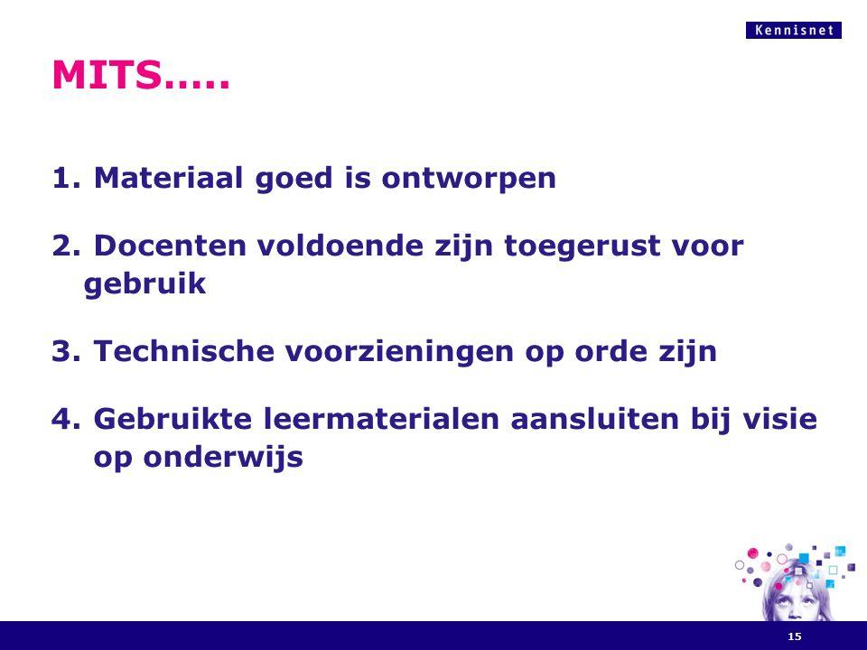 MITS….. 1. Materiaal goed is ontworpen 2. Docenten voldoende zijn toegerust voor gebruik 3.