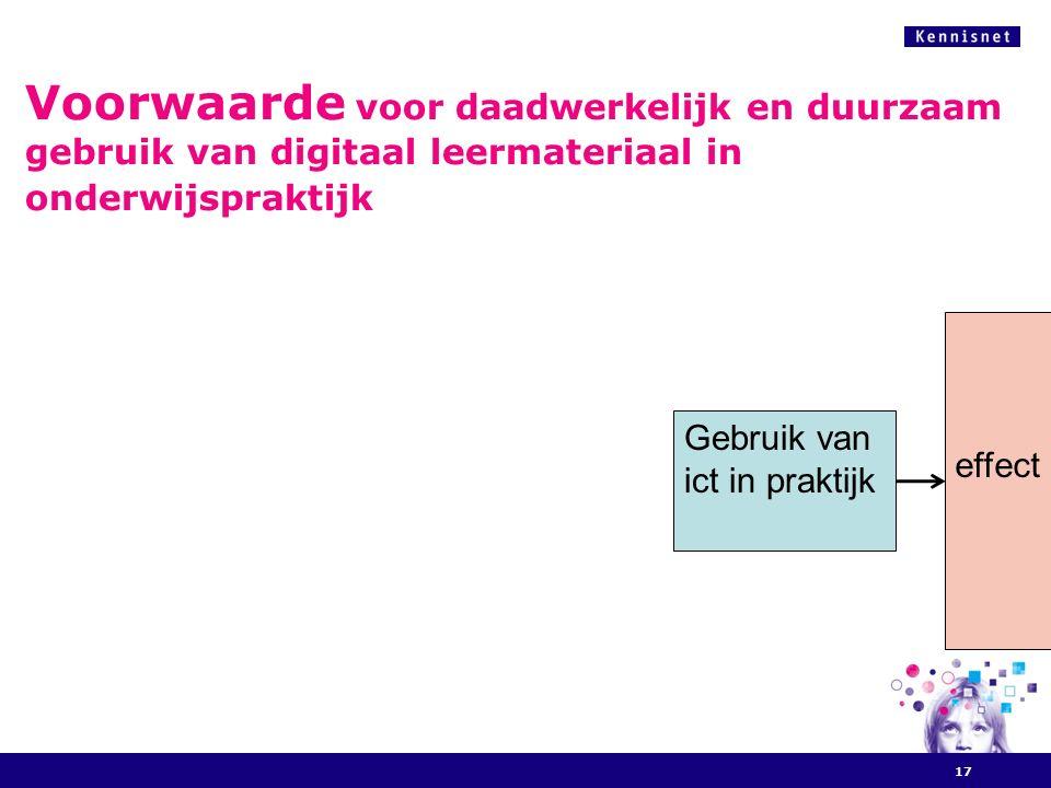 Voorwaarde voor daadwerkelijk en duurzaam gebruik van digitaal leermateriaal in onderwijspraktijk 17 Gebruik van ict in praktijk effect