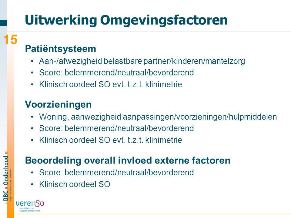 Uitwerking Omgevingsfactoren Patiëntsysteem Aan-/afwezigheid belastbare partner/kinderen/mantelzorg Score: belemmerend/neutraal/bevorderend Klinisch oordeel SO evt.