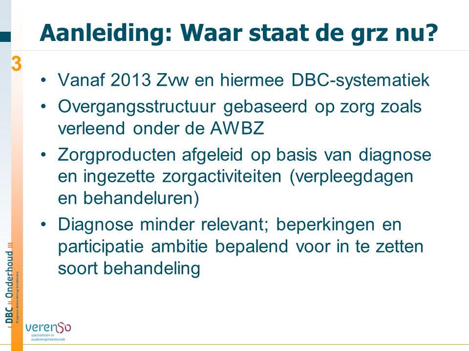 Aanleiding: Waar staat de grz nu? Vanaf 2013 Zvw en hiermee DBC-systematiek Overgangsstructuur gebaseerd op zorg zoals verleend onder de AWBZ Zorgprod