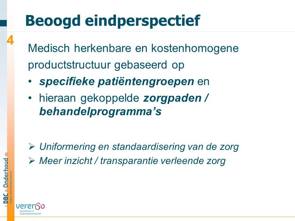 Beoogd eindperspectief Medisch herkenbare en kostenhomogene productstructuur gebaseerd op specifieke patiëntengroepen en hieraan gekoppelde zorgpaden