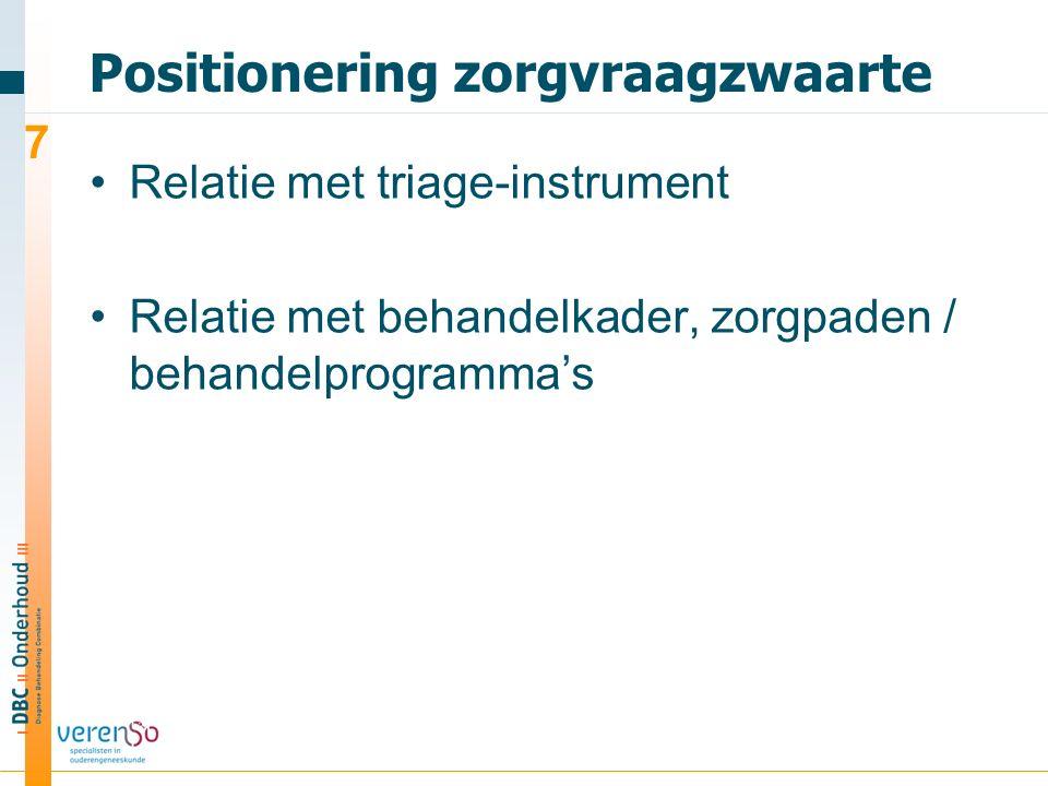 Positionering zorgvraagzwaarte Relatie met triage-instrument Relatie met behandelkader, zorgpaden / behandelprogramma's 7