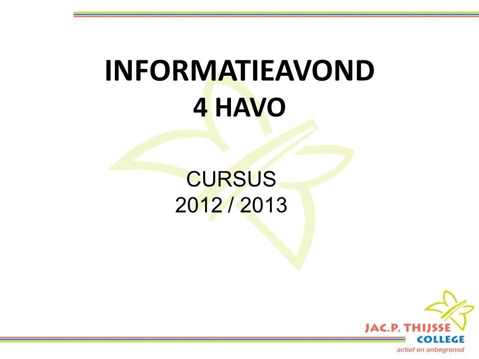 INFORMATIEAVOND 4 HAVO CURSUS 2012 / 2013