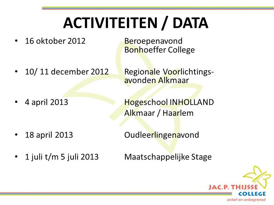 ACTIVITEITEN / DATA 16 oktober 2012Beroepenavond Bonhoeffer College 10/ 11 december 2012Regionale Voorlichtings- avonden Alkmaar 4 april 2013Hogeschool INHOLLAND Alkmaar / Haarlem 18 april 2013Oudleerlingenavond 1 juli t/m 5 juli 2013Maatschappelijke Stage