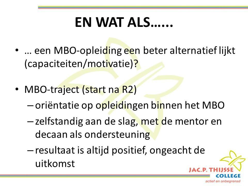 EN WAT ALS…... … een MBO-opleiding een beter alternatief lijkt (capaciteiten/motivatie).