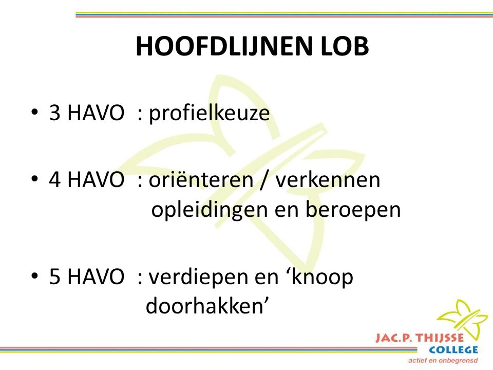 HOOFDLIJNEN LOB 3 HAVO : profielkeuze 4 HAVO : oriënteren / verkennen opleidingen en beroepen 5 HAVO : verdiepen en 'knoop doorhakken'