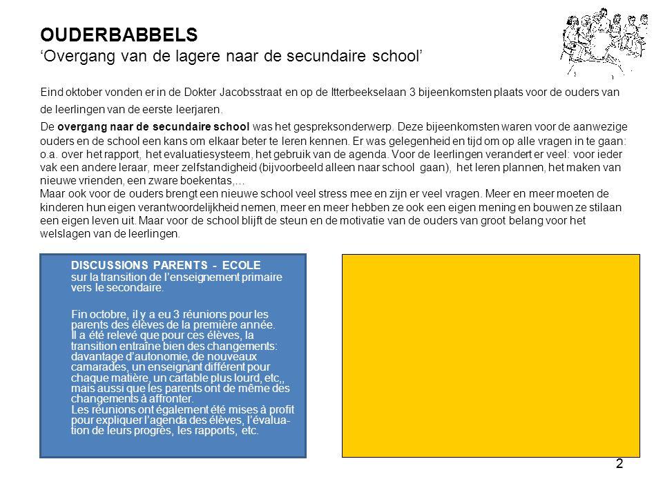 3 5 TIPS voor ouders bij de overgang van de lagere naar de secundaire school 1 Kijk iedere dag de agenda van uw kind na, let op de stickers, geef aandacht aan de algemene informatie, onderteken elke schooldag het blad van die dag.