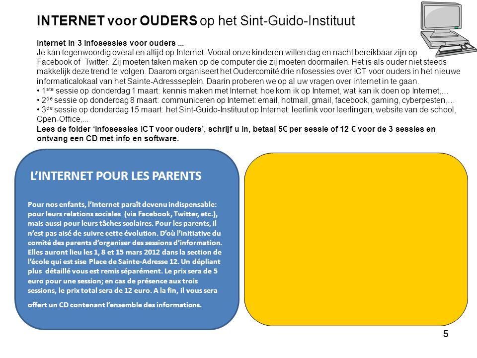 55 L'INTERNET POUR LES PARENTS Pour nos enfants, l'Internet paraît devenu indispensable: pour leurs relations sociales (via Facebook, Twitter, etc.), mais aussi pour leurs tâches scolaires.