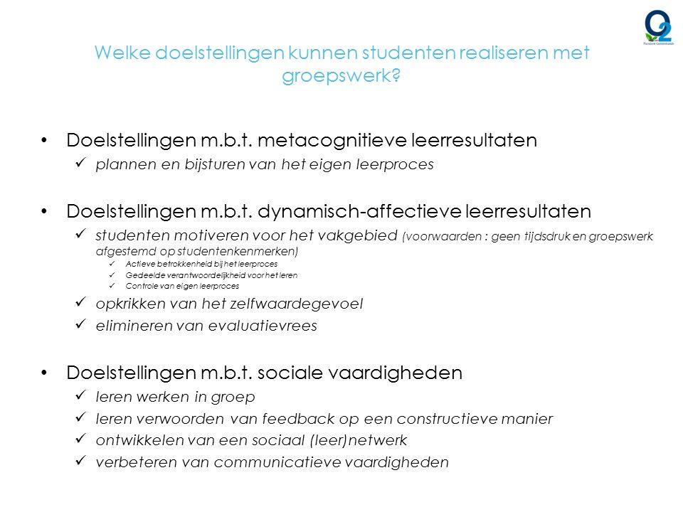 Groepen samenstellen Aantal : 4 studenten per groep = meeste kans op succesvol collaboratief leerproces Samenstelling : geen consensus in literatuur Homogene groep vs heterogene groep vs willekeurig Methodes om groepen samen te stellen – Samenstelling door lesgever : op basis van studentenkenmerken.