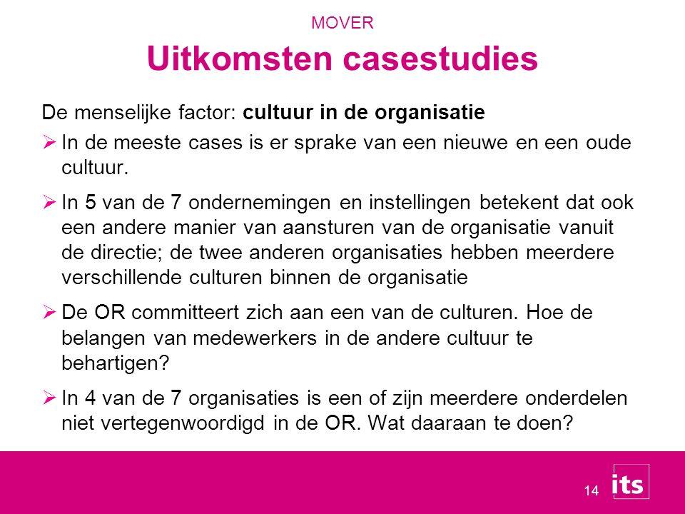 14 De menselijke factor: cultuur in de organisatie  In de meeste cases is er sprake van een nieuwe en een oude cultuur.