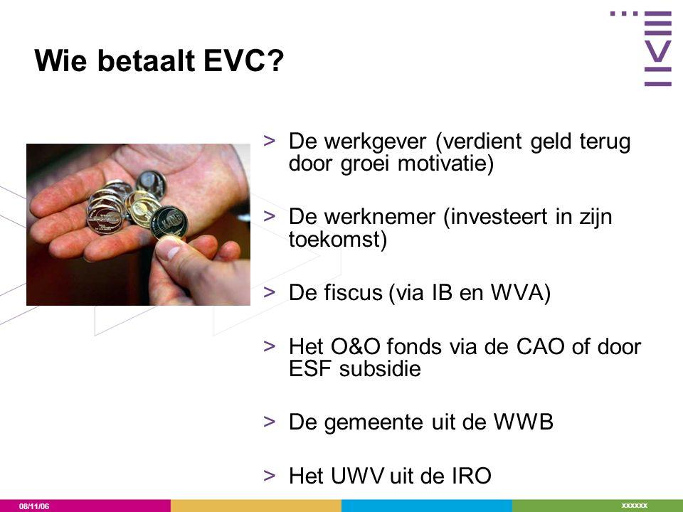 08/11/06 xxxxxx Wie betaalt EVC? >De werkgever (verdient geld terug door groei motivatie) >De werknemer (investeert in zijn toekomst) >De fiscus (via