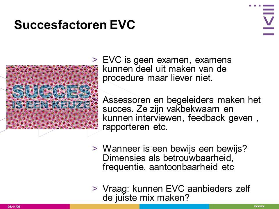 08/11/06 xxxxxx Succesfactoren EVC >EVC is geen examen, examens kunnen deel uit maken van de procedure maar liever niet. >Assessoren en begeleiders ma