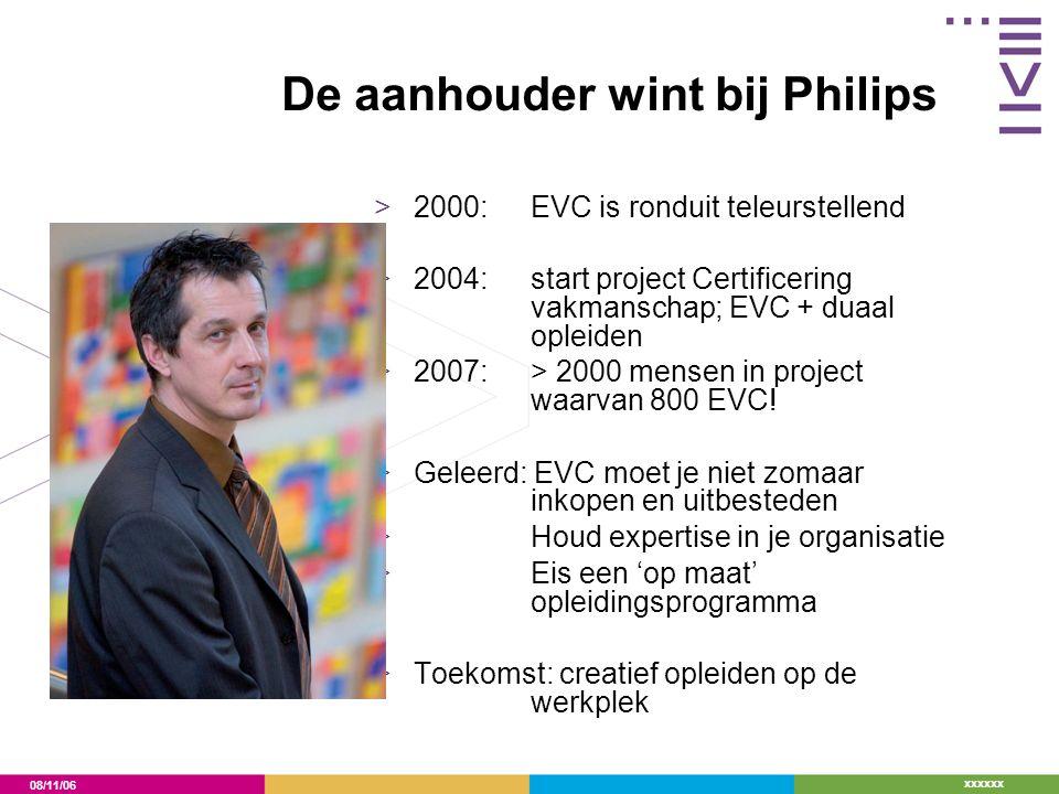 08/11/06 xxxxxx De aanhouder wint bij Philips >2000: EVC is ronduit teleurstellend >2004: start project Certificering vakmanschap; EVC + duaal opleide