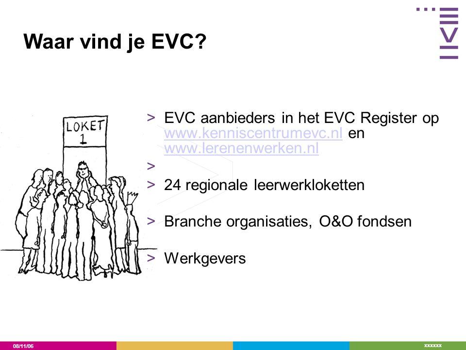 08/11/06 xxxxxx Waar vind je EVC? >EVC aanbieders in het EVC Register op www.kenniscentrumevc.nl en www.lerenenwerken.nl www.kenniscentrumevc.nl www.l