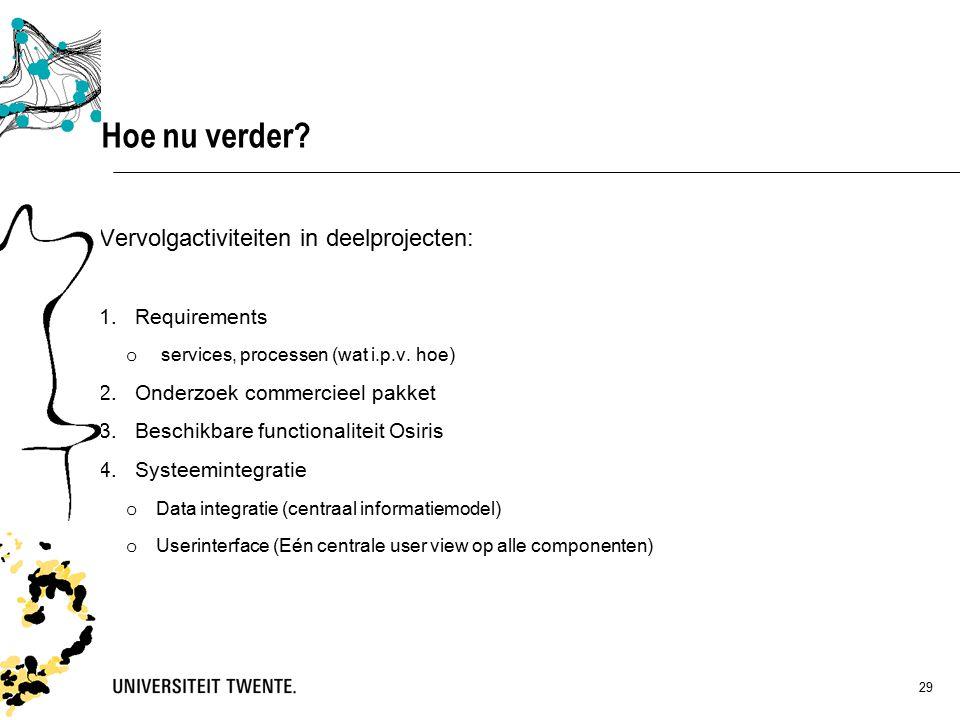 29 Vervolgactiviteiten in deelprojecten: 1.Requirements o services, processen (wat i.p.v.