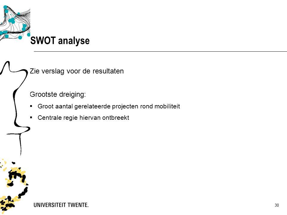 30 Zie verslag voor de resultaten Grootste dreiging:  Groot aantal gerelateerde projecten rond mobiliteit  Centrale regie hiervan ontbreekt SWOT analyse