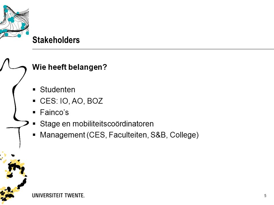 5 Stakeholders Wie heeft belangen.