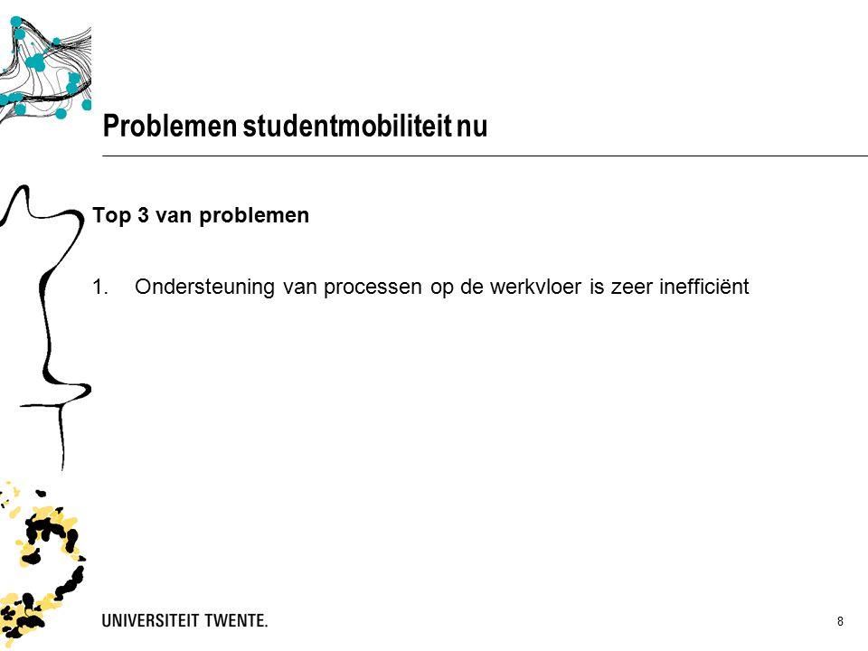 8 Top 3 van problemen 1.Ondersteuning van processen op de werkvloer is zeer inefficiënt Problemen studentmobiliteit nu