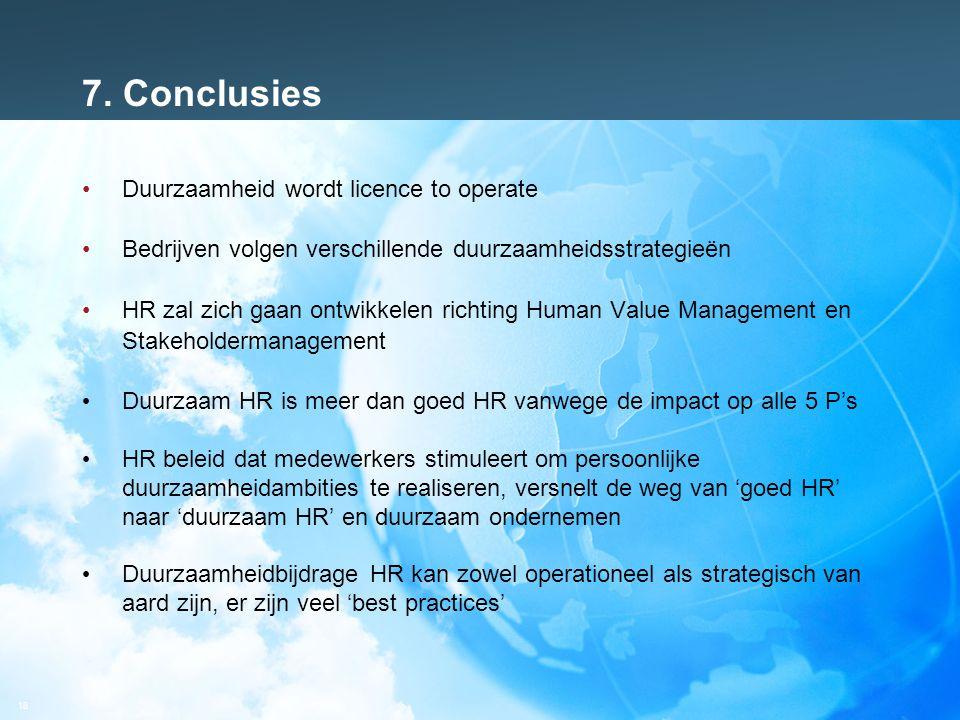 18 7. Conclusies Duurzaamheid wordt licence to operate Bedrijven volgen verschillende duurzaamheidsstrategieën HR zal zich gaan ontwikkelen richting H