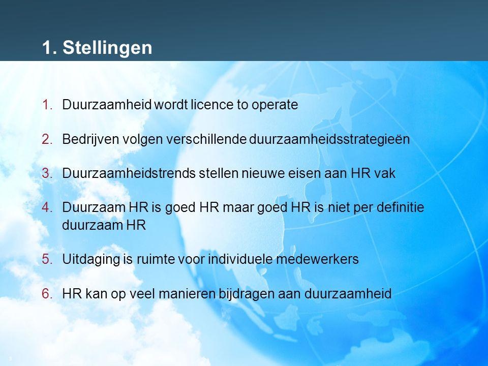 3 1. Stellingen 1.Duurzaamheid wordt licence to operate 2.Bedrijven volgen verschillende duurzaamheidsstrategieën 3.Duurzaamheidstrends stellen nieuwe