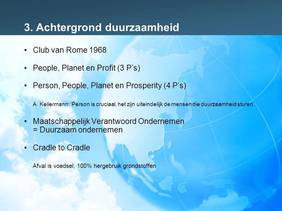 5 3. Achtergrond duurzaamheid Club van Rome 1968 People, Planet en Profit (3 P's) Person, People, Planet en Prosperity (4 P's) A. Kellermann: 'Person