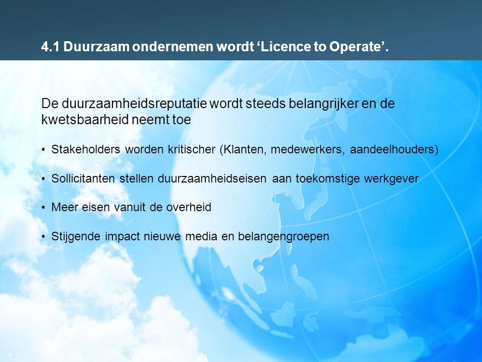 6 4.1 Duurzaam ondernemen wordt 'Licence to Operate'. De duurzaamheidsreputatie wordt steeds belangrijker en de kwetsbaarheid neemt toe Stakeholders w