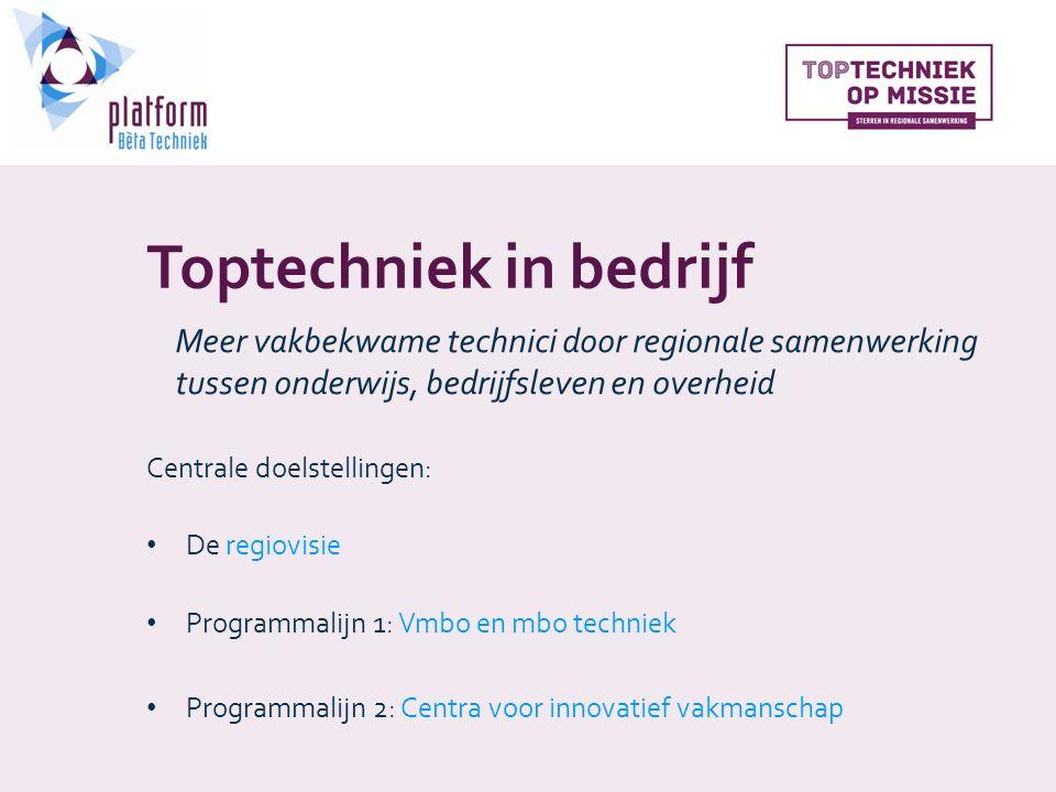 Toptechniek in bedrijf Centrale doelstellingen: De regiovisie Programmalijn 1: Vmbo en mbo techniek Programmalijn 2: Centra voor innovatief vakmanschap Meer vakbekwame technici door regionale samenwerking tussen onderwijs, bedrijfsleven en overheid