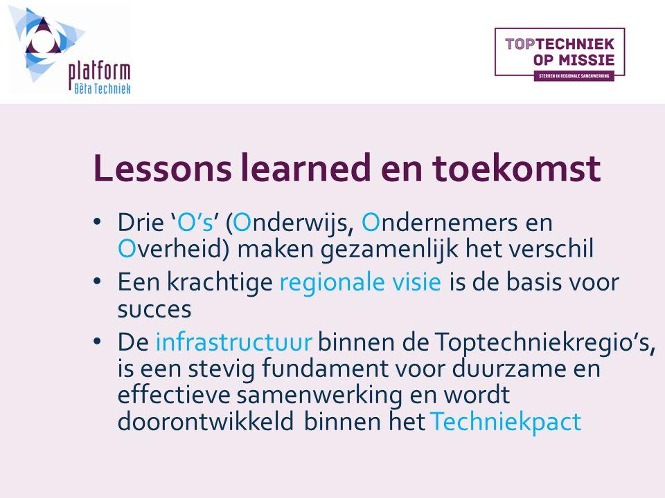 Lessons learned en toekomst Drie 'O's' (Onderwijs, Ondernemers en Overheid) maken gezamenlijk het verschil Een krachtige regionale visie is de basis voor succes De infrastructuur binnen de Toptechniekregio's, is een stevig fundament voor duurzame en effectieve samenwerking en wordt doorontwikkeld binnen het Techniekpact