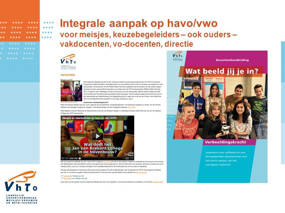 Integrale aanpak op havo/vwo voor meisjes, keuzebegeleiders – ook ouders – vakdocenten, vo-docenten, directie