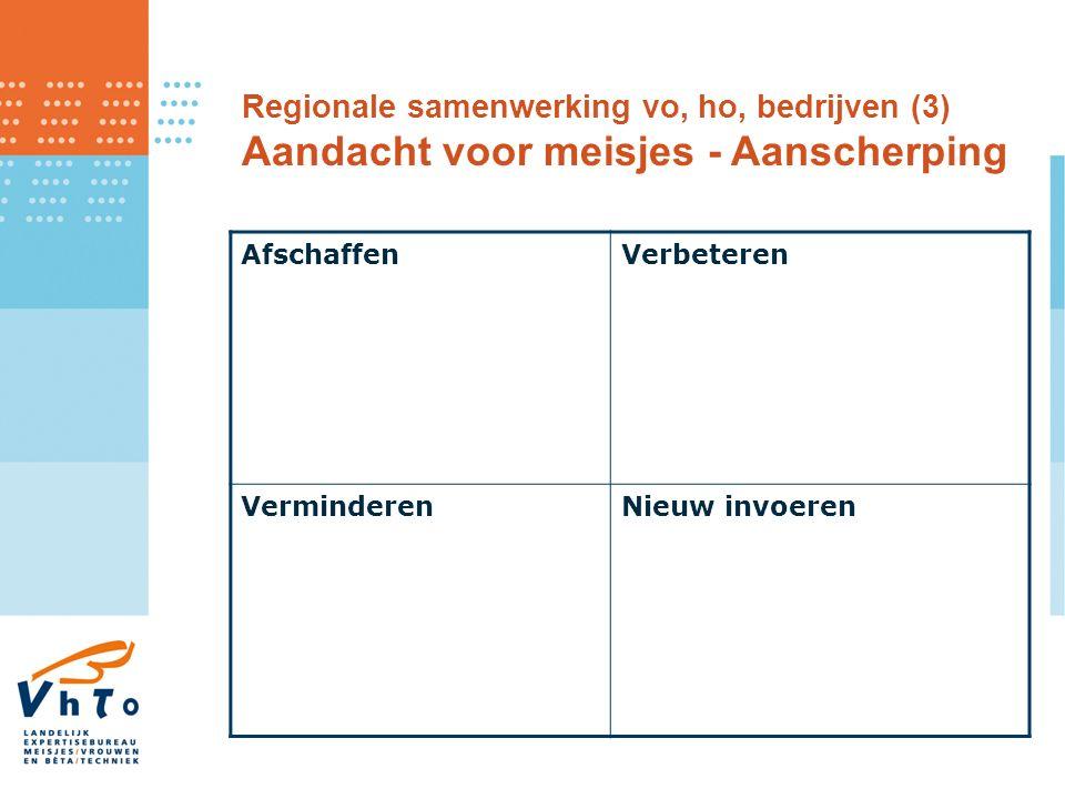 AfschaffenVerbeteren VerminderenNieuw invoeren Regionale samenwerking vo, ho, bedrijven (3) Aandacht voor meisjes - Aanscherping