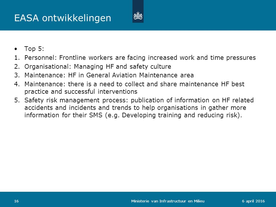 166 april 2016 Top 5: 1.Personnel: Frontline workers are facing increased work and time pressures 2.Organisational: Managing HF and safety culture 3.M