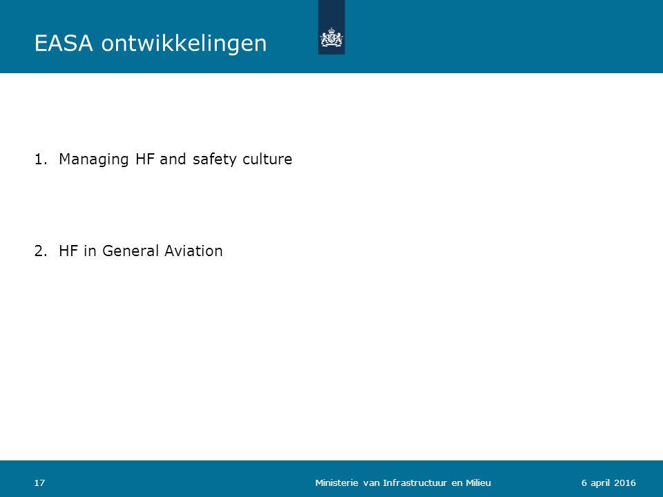 176 april 2016 1.Managing HF and safety culture 2.HF in General Aviation Ministerie van Infrastructuur en Milieu EASA ontwikkelingen