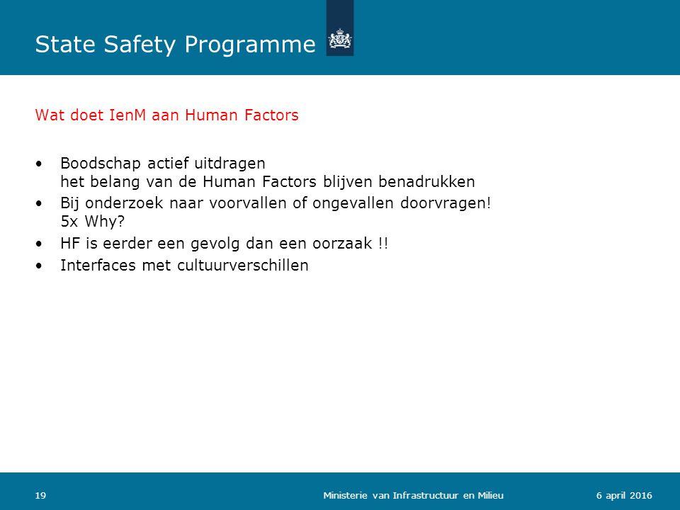 Wat doet IenM aan Human Factors Boodschap actief uitdragen het belang van de Human Factors blijven benadrukken Bij onderzoek naar voorvallen of ongeva