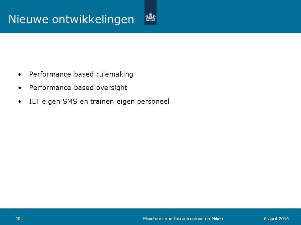 Performance based rulemaking Performance based oversight ILT eigen SMS en trainen eigen personeel 206 april 2016 Ministerie van Infrastructuur en Mili