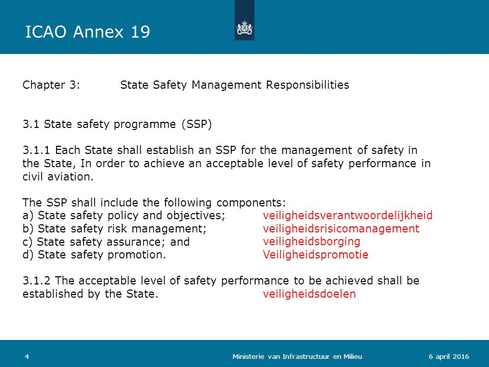  State safety policy and objectives 1.1 State safety legislative framework 1.2 Safety responsibilities and accountabilities 1.3Accident and incident investigation 1.4 Enforcement policy  State safety risk management 2.1 – Safety requirements for the service provider's SMS 2.2 – Agreement on the service provider's safety performance  State safety assurance 3.1 Safety oversight 3.2 Safety data collection, analysis and exchange 3.3 Safety data driven targeting of oversight on areas of greater concern or need  State safety promotion 4.1 Internal training, communication and dissemination of safety information 4.2 External training, communication and dissemination of safety information 56 april 2016 Attachment A:Framework for a State Safety programme (SSP) 4 componenten 11 elementen Ministerie van Infrastructuur en Milieu ICAO Annex 19