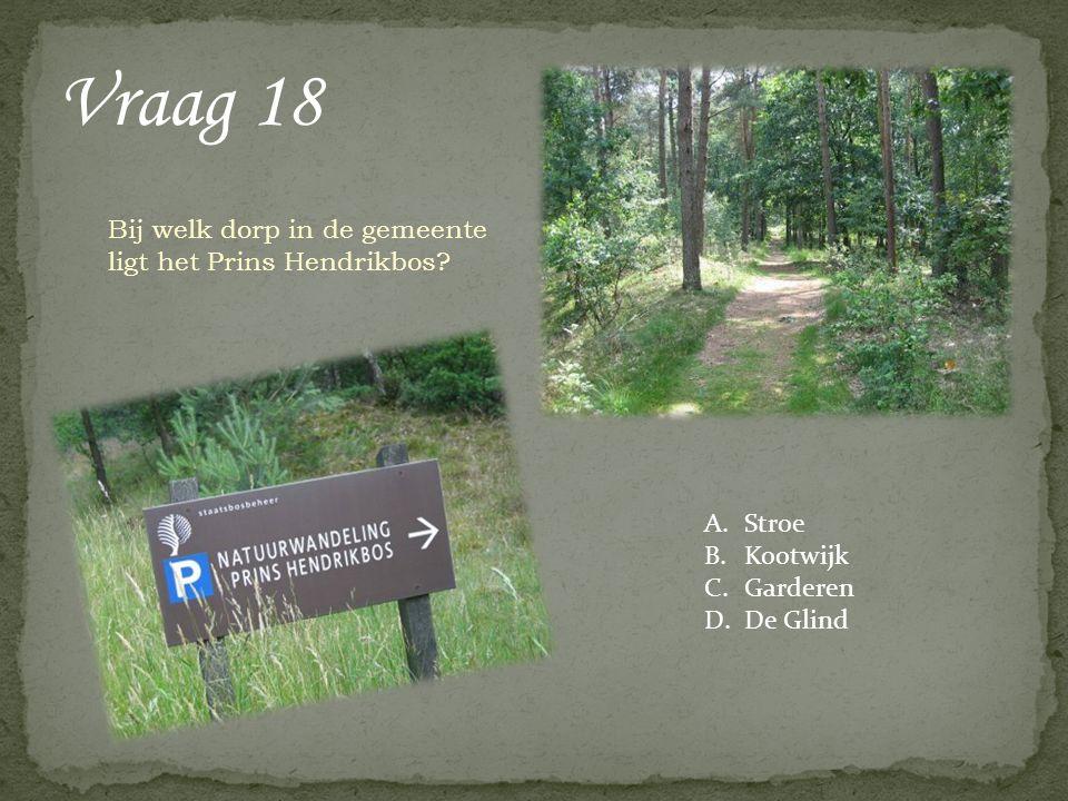 Vraag 18 Bij welk dorp in de gemeente ligt het Prins Hendrikbos? A.Stroe B.Kootwijk C.Garderen D.De Glind