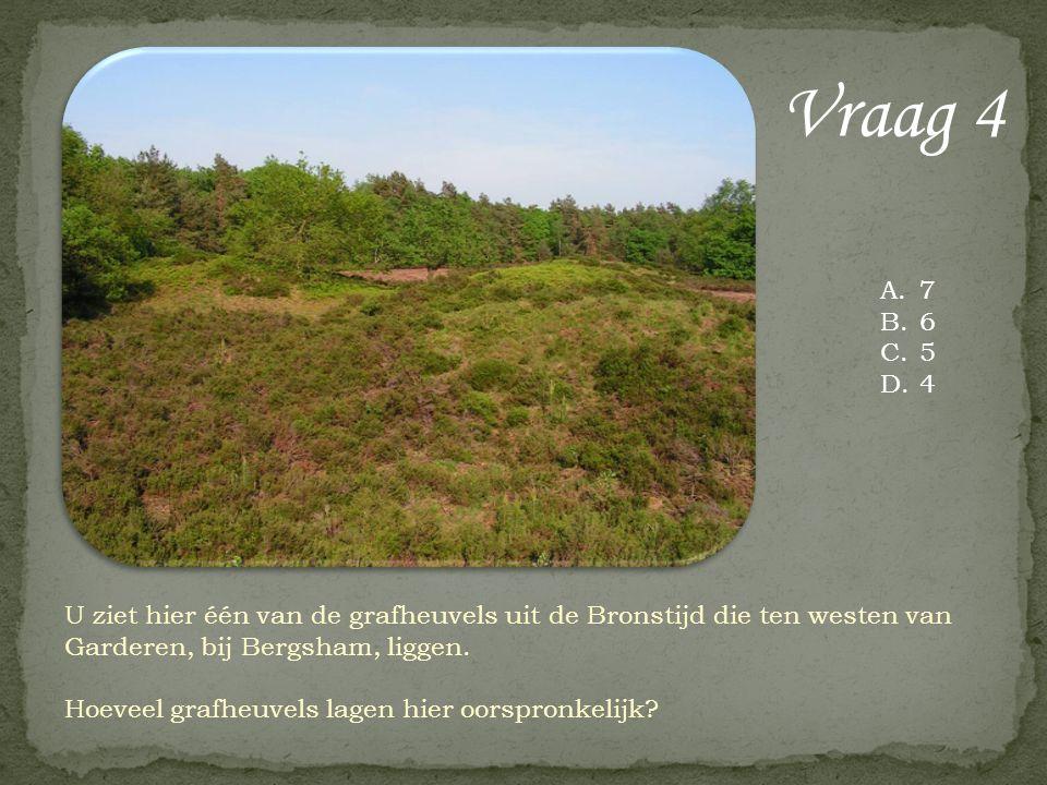 Vraag 4 U ziet hier één van de grafheuvels uit de Bronstijd die ten westen van Garderen, bij Bergsham, liggen. Hoeveel grafheuvels lagen hier oorspron