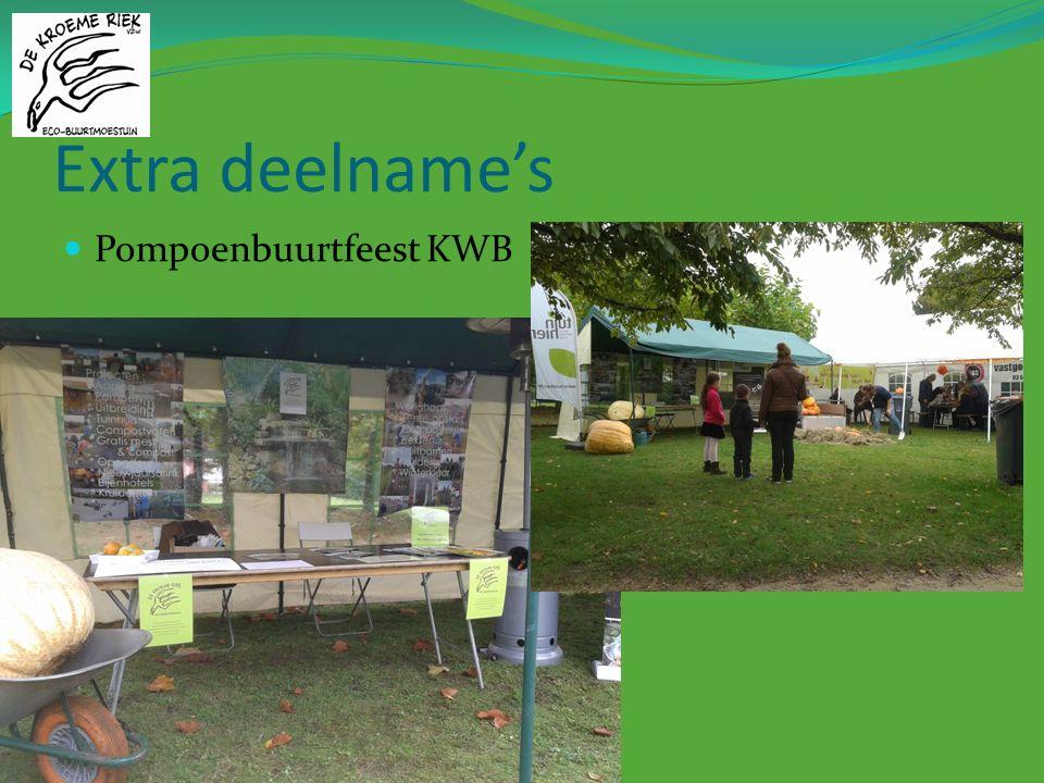 Extra deelname's Pompoenbuurtfeest KWB