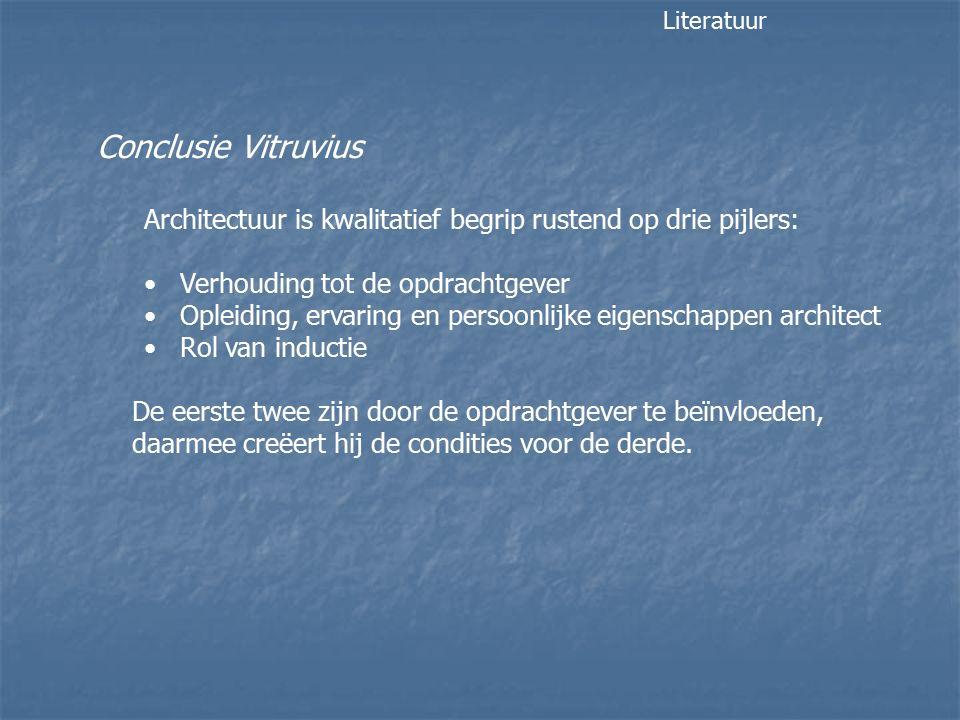 Conclusie Vitruvius Architectuur is kwalitatief begrip rustend op drie pijlers: Verhouding tot de opdrachtgever Opleiding, ervaring en persoonlijke eigenschappen architect Rol van inductie De eerste twee zijn door de opdrachtgever te beïnvloeden, daarmee creëert hij de condities voor de derde.