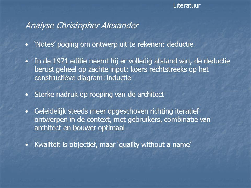 Analyse Christopher Alexander 'Notes' poging om ontwerp uit te rekenen: deductie In de 1971 editie neemt hij er volledig afstand van, de deductie beru