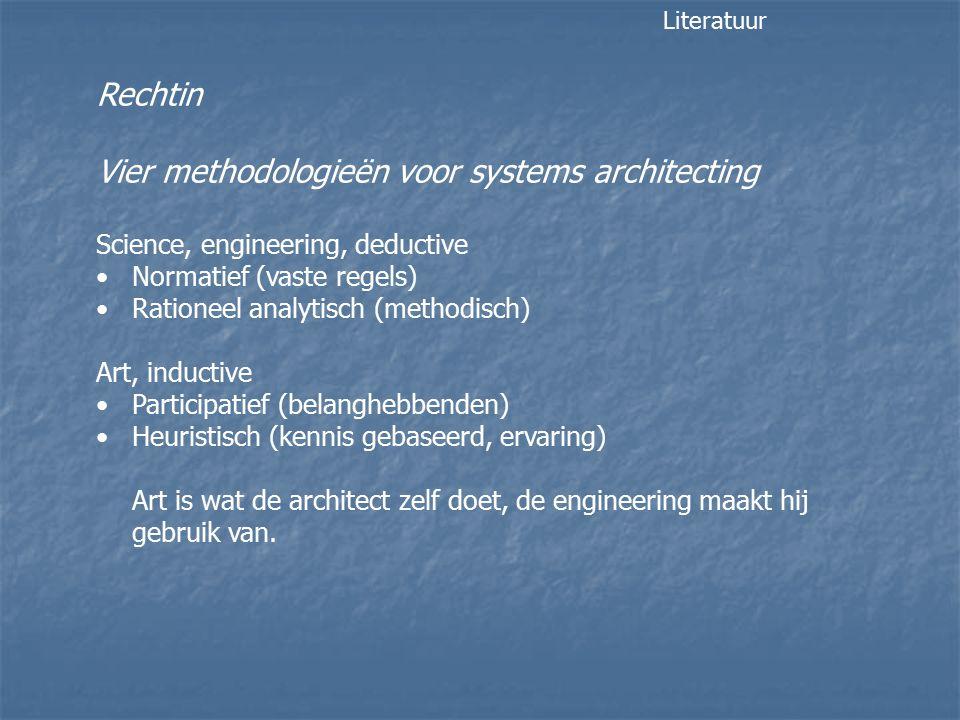 Rechtin Vier methodologieën voor systems architecting Science, engineering, deductive Normatief (vaste regels) Rationeel analytisch (methodisch) Art, inductive Participatief (belanghebbenden) Heuristisch (kennis gebaseerd, ervaring) Art is wat de architect zelf doet, de engineering maakt hij gebruik van.