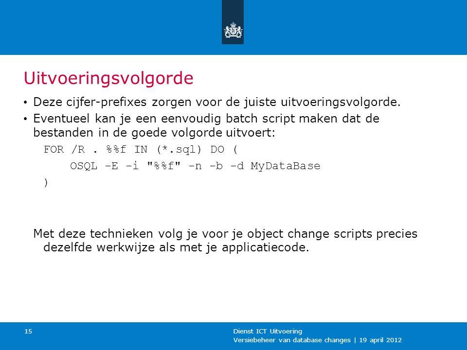 Versiebeheer van database changes | 19 april 2012 Dienst ICT Uitvoering 15 Uitvoeringsvolgorde Deze cijfer-prefixes zorgen voor de juiste uitvoeringsvolgorde.